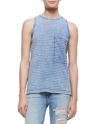 Bowery Pinstriped Tank with Pocket