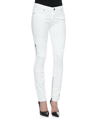 Demi Moto-Style Skinny Jeans, White