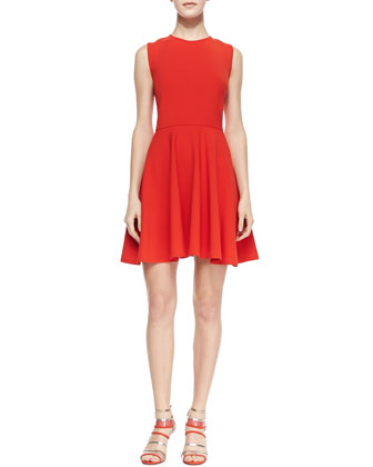 Jeannie Fit-and-Flare Dress, Chili Pepper