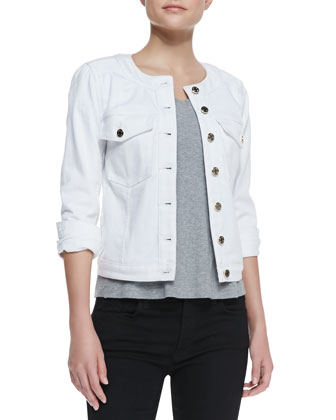 Round-Neck Button-Front Denim Jacket