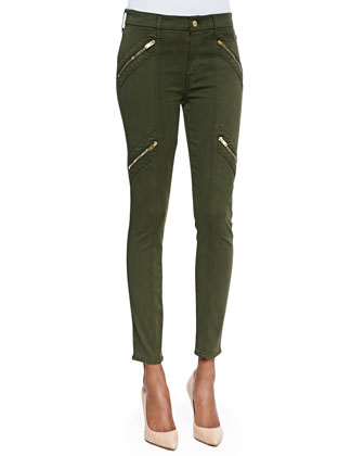 Panel Zip Skinny Moto Pants, Olive Sateen