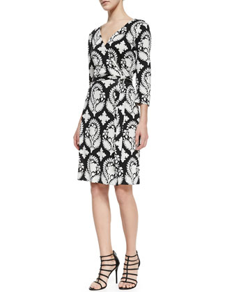 New Julian Two Indian Brocade-Print Wrap Dress