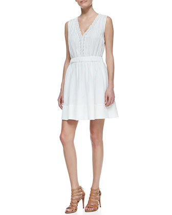Shilo Sleeveless V-Neck Dress, White