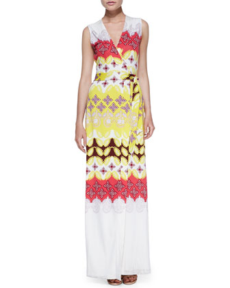 New Yahzi Border-Print Maxi Wrap Dress