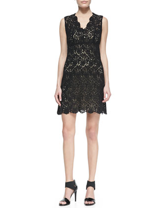 Hippolyte Sleeveless V-Neck Lace Cocktail Dress, Black