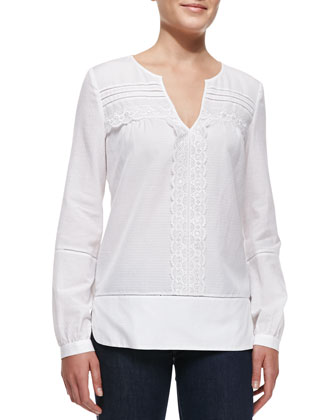 Andrea Long-Sleeve Lace-Strip Top