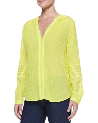 Gaylen Long-Sleeve Crochet Band Top, Canary Yellow
