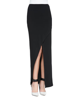 Cross-Front Jersey Maxi Skirt