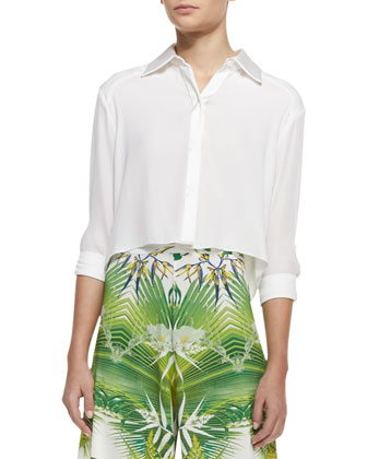 Sharon Cropped Button-Front Blouse