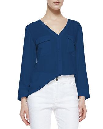 Donnie Silk-Stretch Low-Cut Button-Down Top