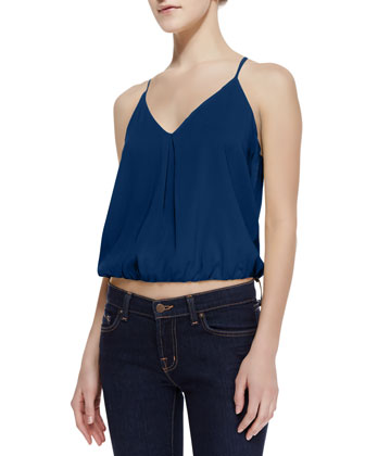 Noa Elastic-Hem Stretch-Silk Top