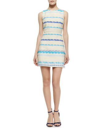 Eli Boat-Neck Sleeveless Flare Dress