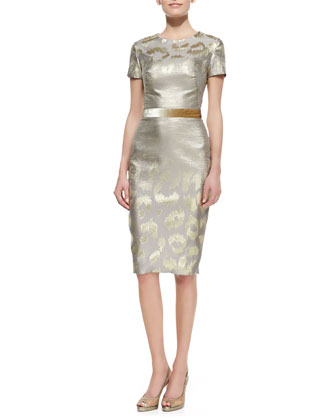 Short-Sleeve Metallic Leopard-Print Cocktail Dress