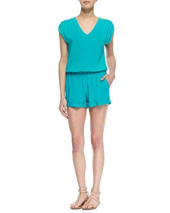 Capri Cap-Sleeve Pleated Jumpsuit, Blue