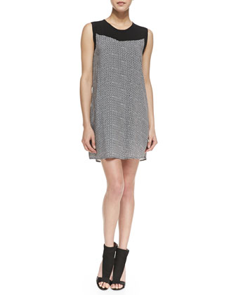 Sleeveless Basketweave Print Shift Dress, Black/White