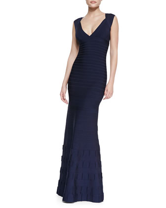 Agnes Deep-V Bandage Gown, Pacific Blue