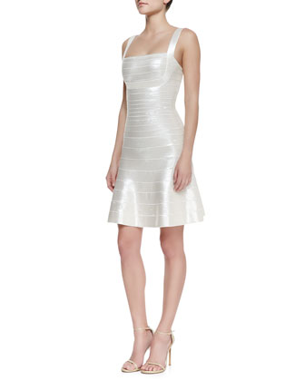 Jacklyn Square-Neck Bandage Dress, Alabaster