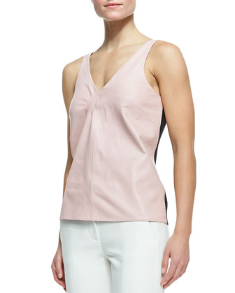City Stretch Arched-Back Blazer, Lambskin/Silk V-Neck Tank & Cropped Pants