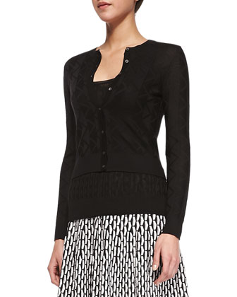 Cropped Zigzag Knit Cardigan, Black
