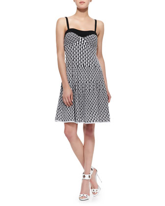 Vertical Fan Tank Dress, Black/White/Gray