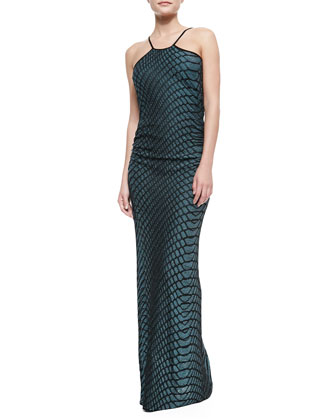 Halter-Neck Web Relief Gown, Teal