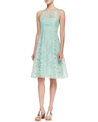 Beach Breeze Lace Sleeveless Dress, Green