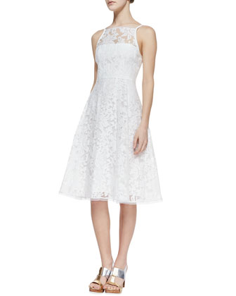 Beach Breeze Lace Sleeveless Dress, White