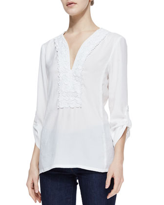 Jardin Crochet-Neck Poplin Top