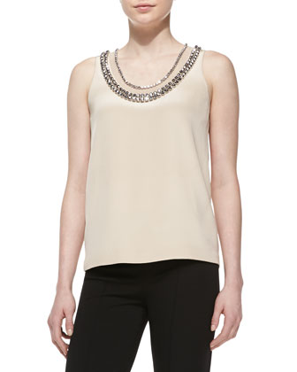 Ade Sleeveless Jewel-Neck Top