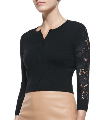 Doris Cropped Lace-Sleeve Cardigan
