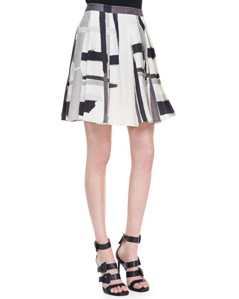 Lana Check-Print Silk Pleated Skirt