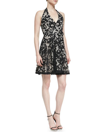 New Amelia Lace Halter Flare Dress