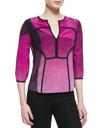 Kaia Speckle Weave Print Top