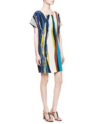 Tania Short-Sleeve Glass Patch Dress, Multicolor
