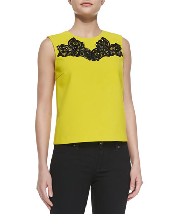 Betty Tank with Embroidered Neck