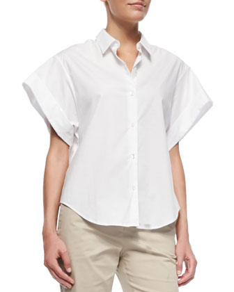 Light Poplin Wide Short-Sleeve Shirt