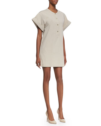 Light Poplin Short-Sleeve Dress