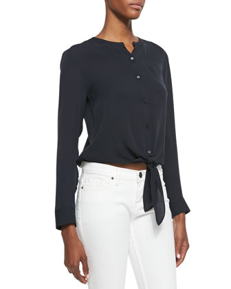 Kevine Double Georgette Tie-Hem Blouse