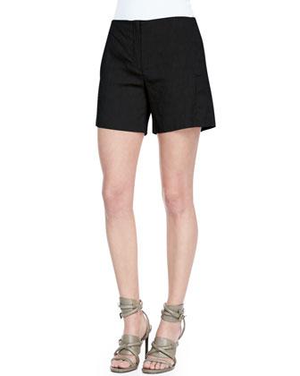 Crunch Mid-Thigh Linen-Blend Shorts
