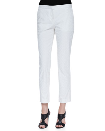 Patterned Twill Slim Cropped Pants