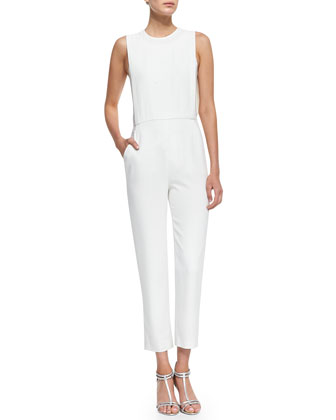Spiaggia Structured Sleeveless Crepe Jumpsuit