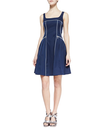 Spring Contrast-Trim Party Dress