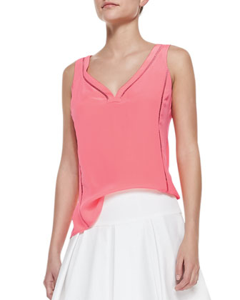 Tiki Perforated-Trim Sleeveless Top