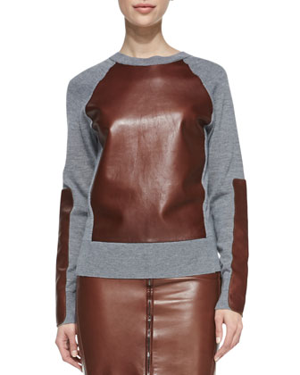 Long-Sleeve Leather-Block Sweatshirt