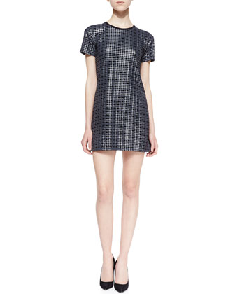 Ichart Waffle-Textured Twill Dress