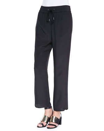 Frances Crepe de Chine Track Pants, Black