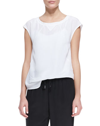 Frances Crepe de Chine Sporty Blouse