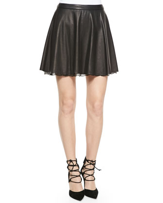 Blaise Leather Trapeze Skirt with Lace Hem