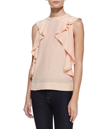 Sleeveless Side-Ruffle Silk Blouse