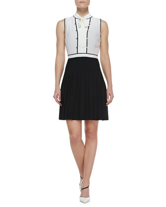 Frances Tie-Neck Pleated Colorblock Dress